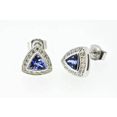 Tanzanite & Diamond Shaped 18ct Earrings