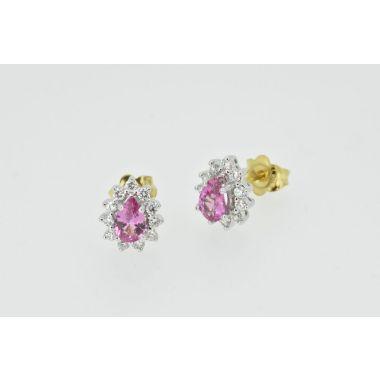 Pink Sapphire & Diamond Cluster 18ct Earrings