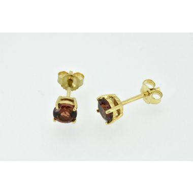 Round Garnet 9ct Stud Earrings