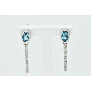 Blue Topaz & Diamond Drop 18ct Earrings
