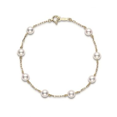 Mikimoto Pearl Chain Bracelet - Yellow Gold