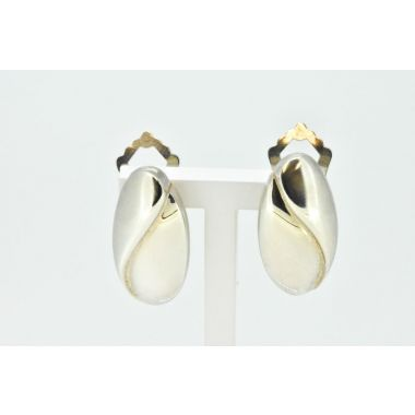 Oval Fluted Silver Clip On Earrings