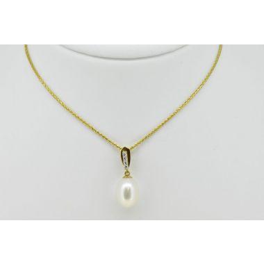Pearl & Diamond 18ct Pendant