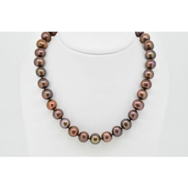 "Brown Colour Pearl 18"" Necklet"