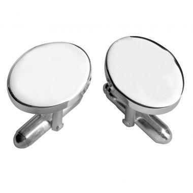 Carrs Oval Plain Silver Cufflinks