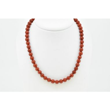 Red Coral Beads with Magentic Clasp