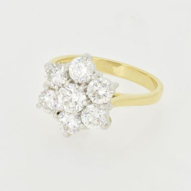 Diamond Flower Cluster 18ct Yellow Gold 2.00ct Ring
