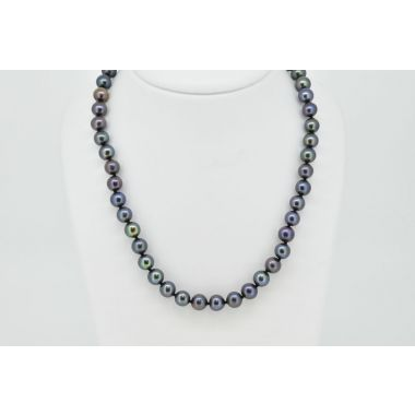 "Single Row Black Cultured 18"" Pearls"