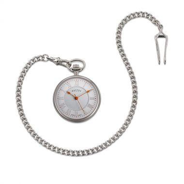 Dalvey Open Face Pocket Watch White/Orange