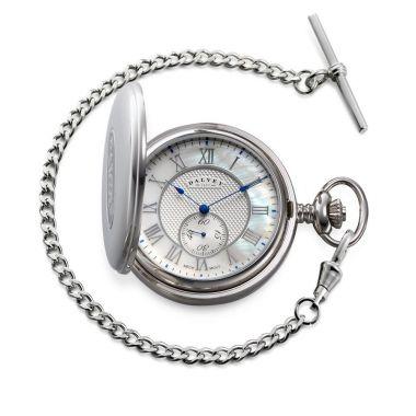 Dalvey Full Hunter Pocket Watch White Mother of Pearl