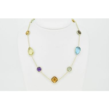 Yellow Gold 9ct Multi Stone Necklet
