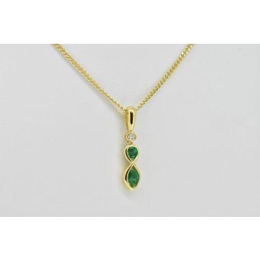 Emerald & Diamond 18ct Pendant