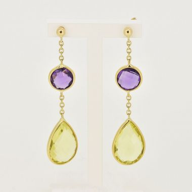 Amethyst & Lemon Quartz 9ct Earrings