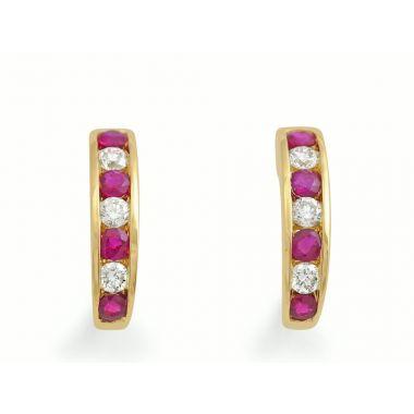 Ruby & Diamond 18ct Earrings