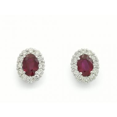Ruby & Diamond 18ct Cluster Earrings