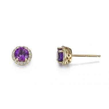 Amethyst & Diamond 9ct Earrings
