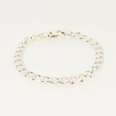 Concave Curb Link Silver Bracelet