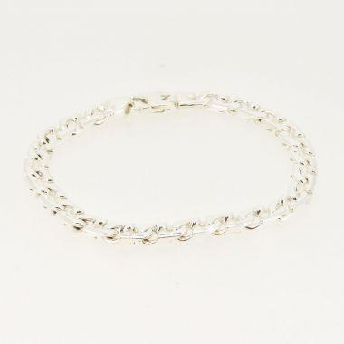 Polish Chamferred Curb Silver Bracelet
