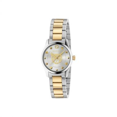 Gucci G-Timeless Silver & Gold Feline Dial Watch 27mm