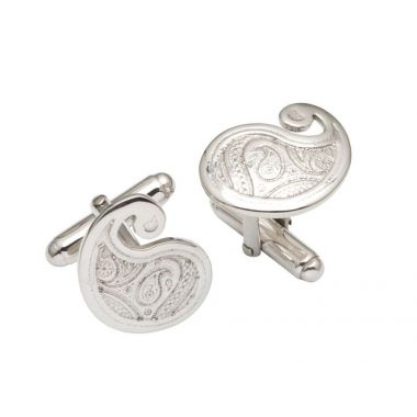 Silver Paisley Pattern Cufflink