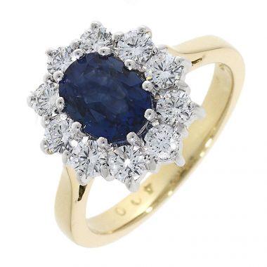 Sapphire & Diamond 18ct Flower Cluster Ring