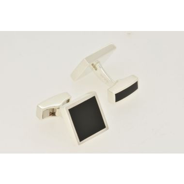 Black Onyx Square Silver Cufflinks
