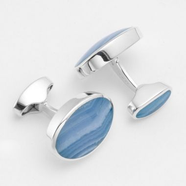 Blue Lace Agate Silver Swivel Cufflinks