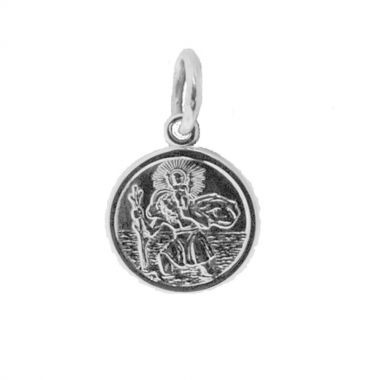 Silver 10mm round St Christoper Charm