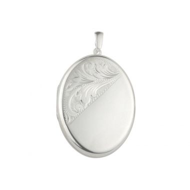 Silver Locket Hand Engraved Style on Chain
