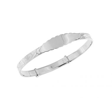 Silver Maids Engraved Bangle