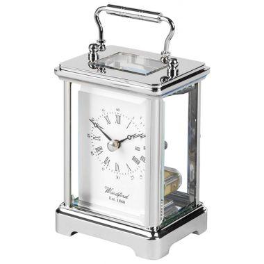 Woodford Obis Chrome Plated Solid Brass Ticking Quartz Carriage Clock