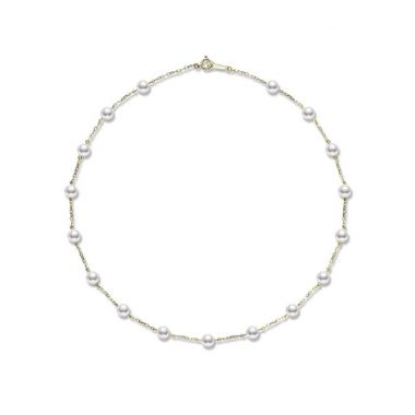 Mikimoto Pearl Chain Necklace 40cm - Yellow Gold
