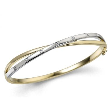 Diamond 9ct Yellow & White Gold Bangle