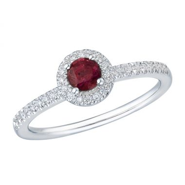 Ruby & Diamond 9ct Cluster Ring