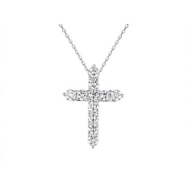 Diamond 0.73ct Cross 18ct White Pendant