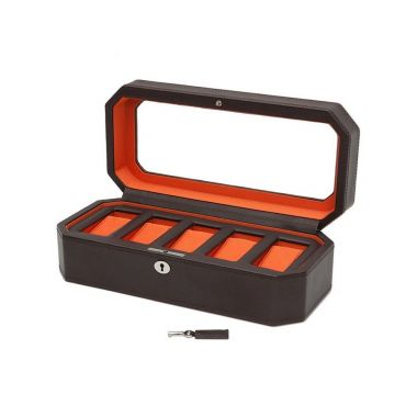Wolf Windsor 5 Piece Watch Box Brown/Orange