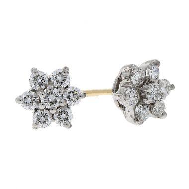 Diamond Flower 0.50ct Cluster 18ct Earrings