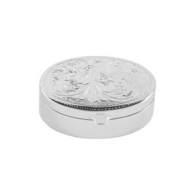Oval Engraved Silver Box