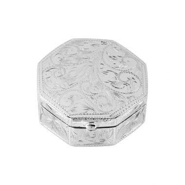 Hexagonal Engraved Silver Box