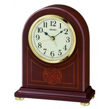 Seiko Clocks Seiko Dark Wooden Inlayed Quartz Battery Mantle Clock