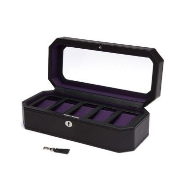 Wolf Windsor 5 Piece Watch Box Black/Purple