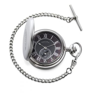 Dalvey Full Hunter Pocket Watch Black Mother of Pearl