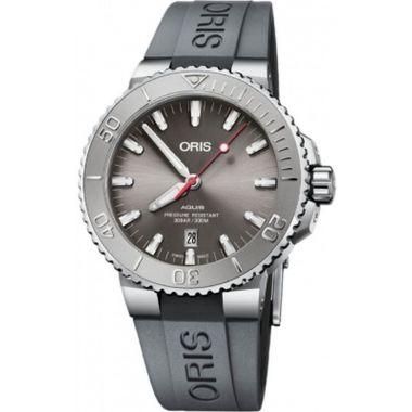Oris Aquis Date Relief Grey Rubber Watch 43.5mm