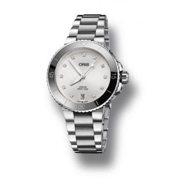 Oris Aquis Date Diamonds White Dial Watch 36.5mm