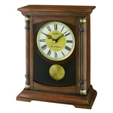 Seiko Clocks Wooden Westminster Chime Battery Mantle Pendulum Clock