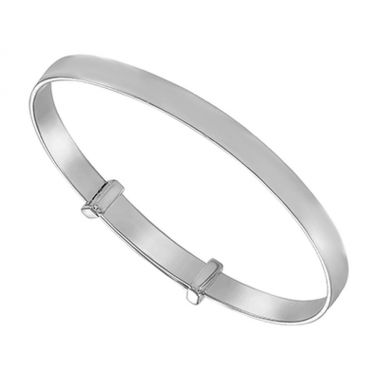 Silver Plain Christening Bangle