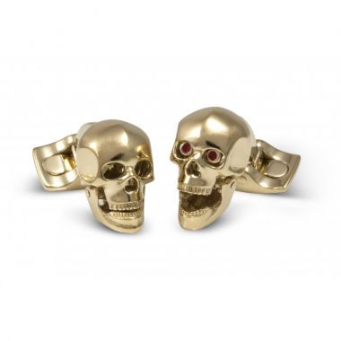 Deakin & Francis Skull Head Cufflinks in a Gold Finish