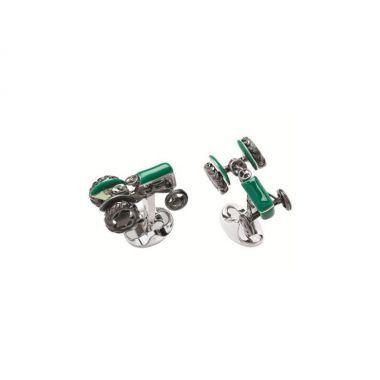Deakin & Francis Sterling Silver Green Tractor Cufflinks