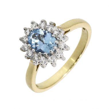 Aquamarine & Diamond Oval Cluster 1.22ct 18ct Ring