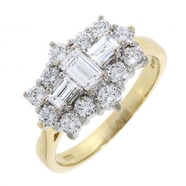 Diamond Shaped Cluster 1.31ct 18ct Ring